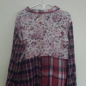 CASLON plaid & Floral multi print long tunic top L